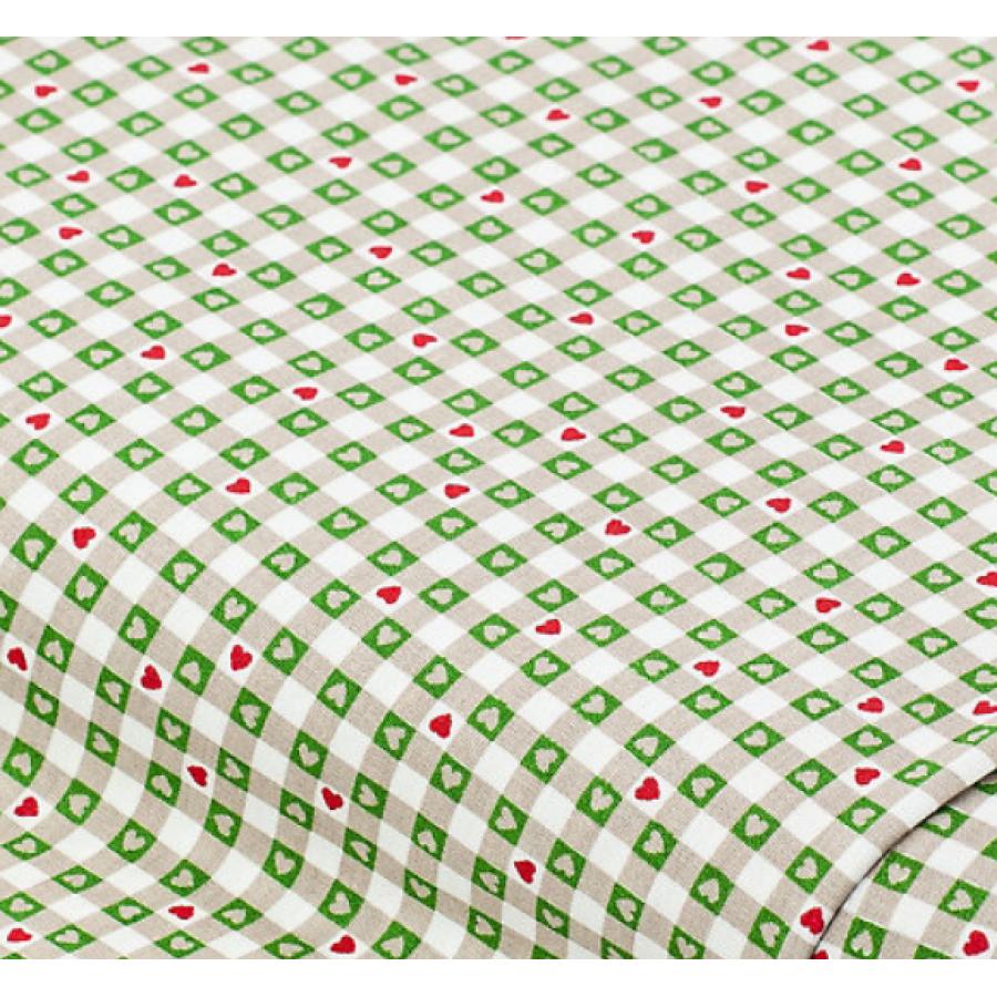 """Отрез новогоднего хлопка для рукоделия """"Зеленая  бежевая клетка с сердечками"""", 25*36 см"""