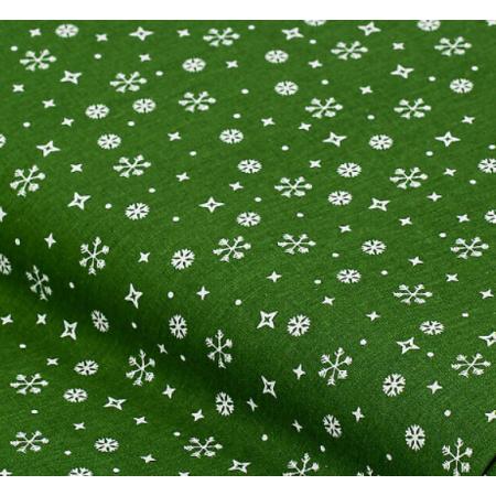 """Отрез немецкого новогоднего хлопка для рукоделия """"Снежинки на зеленом"""", 25*36 см"""