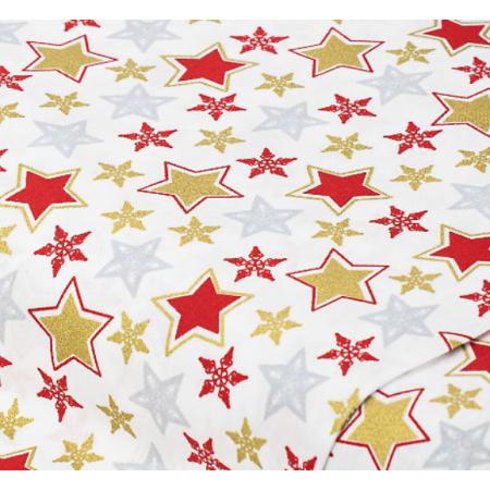 """Отрез немецкого новогоднего хлопка для рукоделия с глиттером """"Большие золотые звезды на белом"""", 25*36 см"""