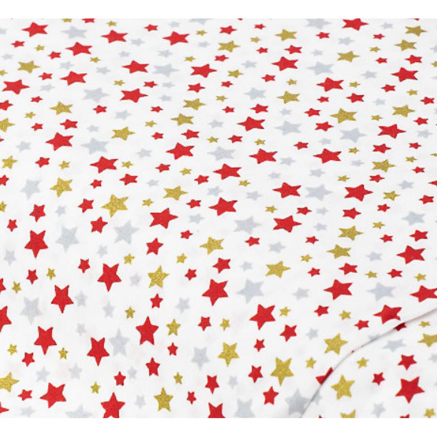 """Отрез немецкого новогоднего хлопка для рукоделия с глиттером """"Маленькие золотые звезды на белом"""", 25*36 см"""