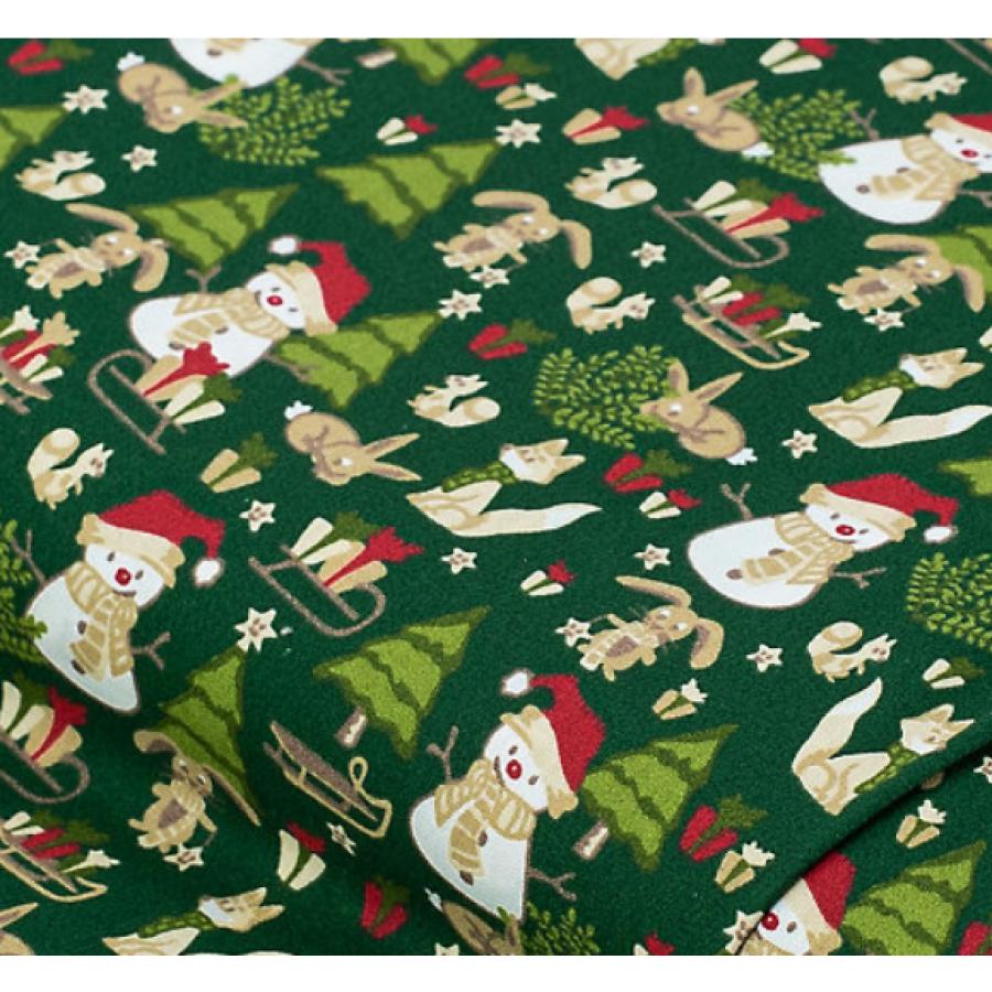 """Отрез немецкого новогоднего хлопка для рукоделия """"Снеговики на зеленом"""", 25*36 см"""