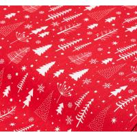 """Отрез немецкого новогоднего хлопка для рукоделия """"Белые елочки на красном"""", 25*36 см"""