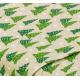 """Отрез немецкого новогоднего хлопка для рукоделия """"Зеленые елочки на бежевом"""", 25*36 см"""