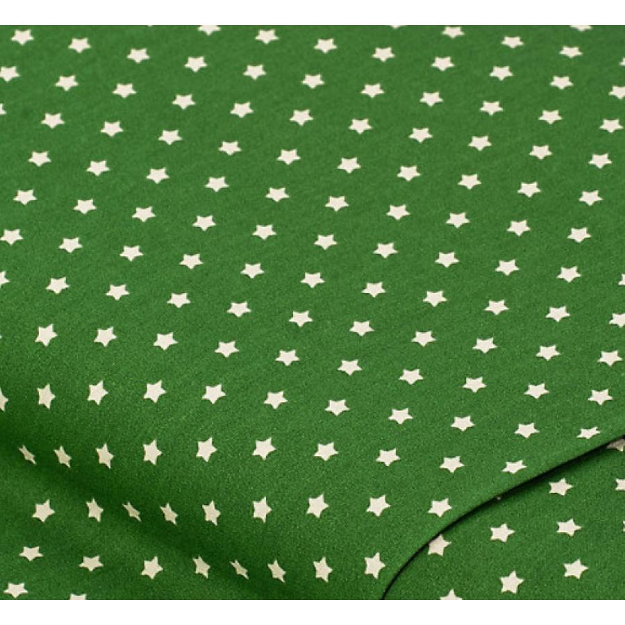 """Отрез немецкого новогоднего хлопка для рукоделия """"Бежевые звездочки на зеленом"""", 25*36 см"""