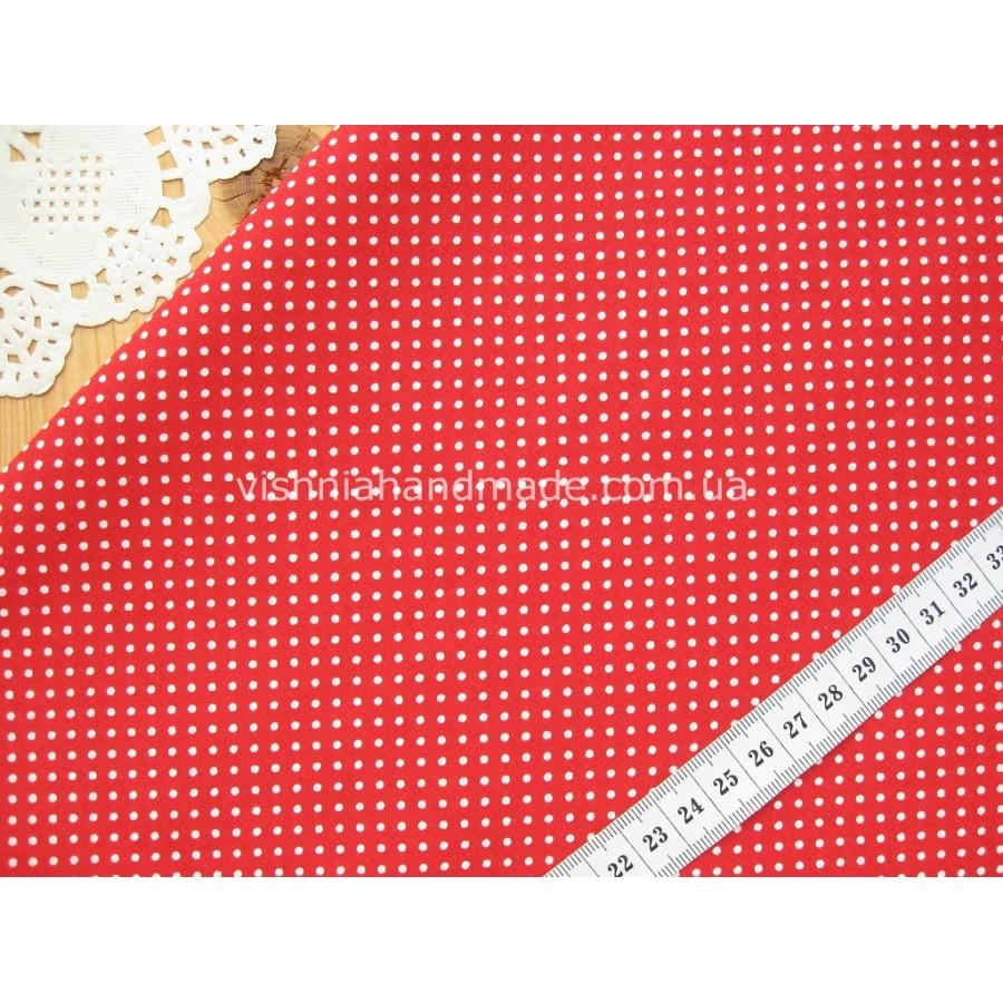 """Отрез новогоднего хлопка для рукоделия """"Белые точки 2 мм на красном"""", 30*36 см"""