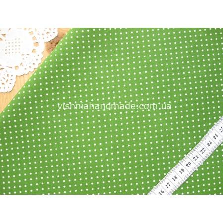 """Отрез новогоднего хлопка для рукоделия """"Белые точки 2 мм на травяном"""", 30*36 см"""