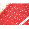 """Отрез новогоднего хлопка для рукоделия """"Белые, зеленые звездочки на красном"""", 30*36 см"""