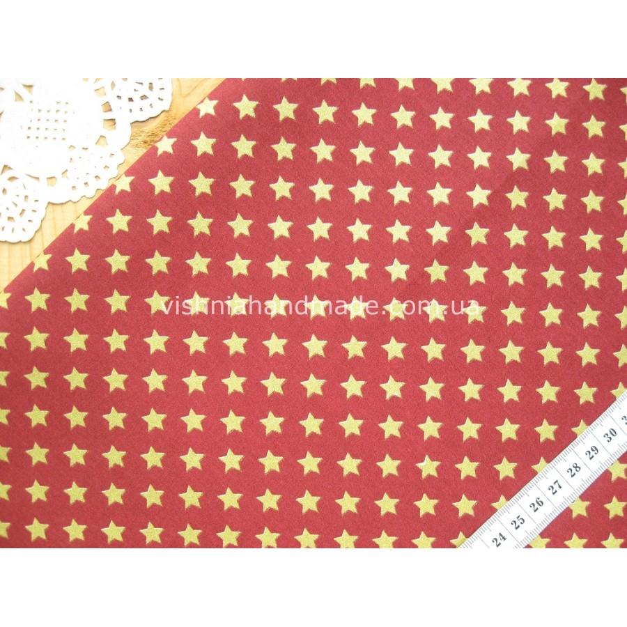 """Отрез новогоднего хлопка для рукоделия с глиттером """"Звездочки на марсале"""", 30*36 см"""