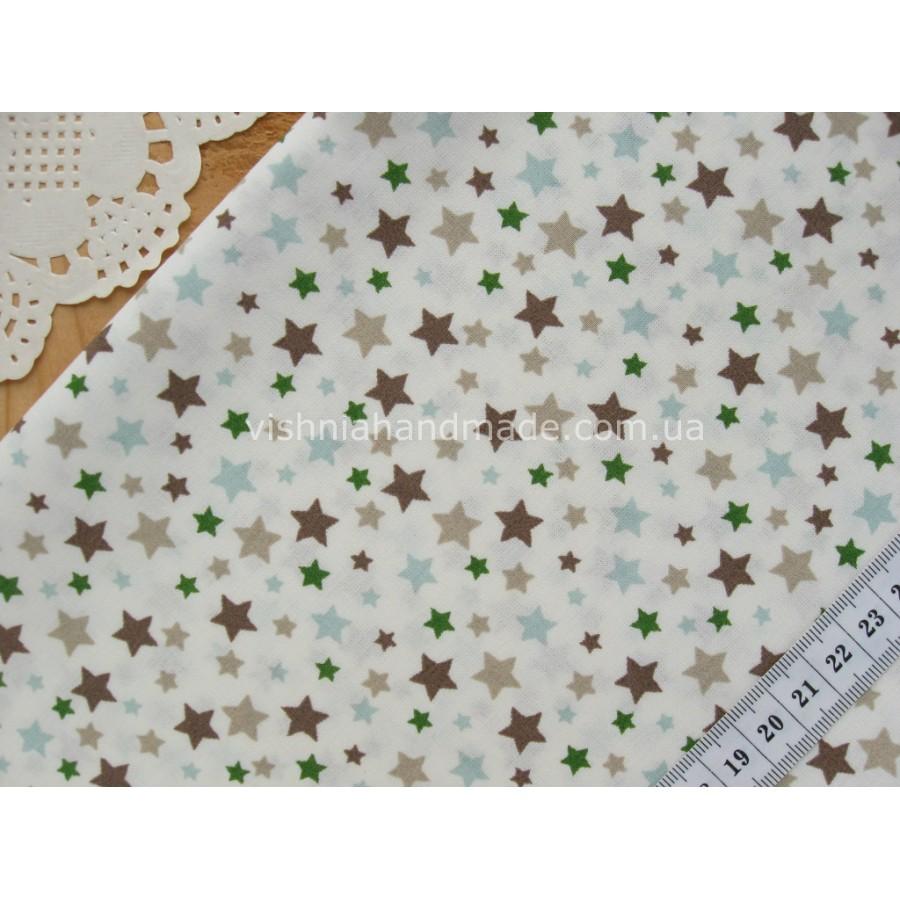 """Германский хлопок """"Коричневые, зеленые, голубые и бежевые звездочки на белом"""", 30*38 см"""