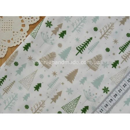 """Германский хлопок """"Мятные, зеленые и бежевые елочки на белом"""", 30*38 см"""