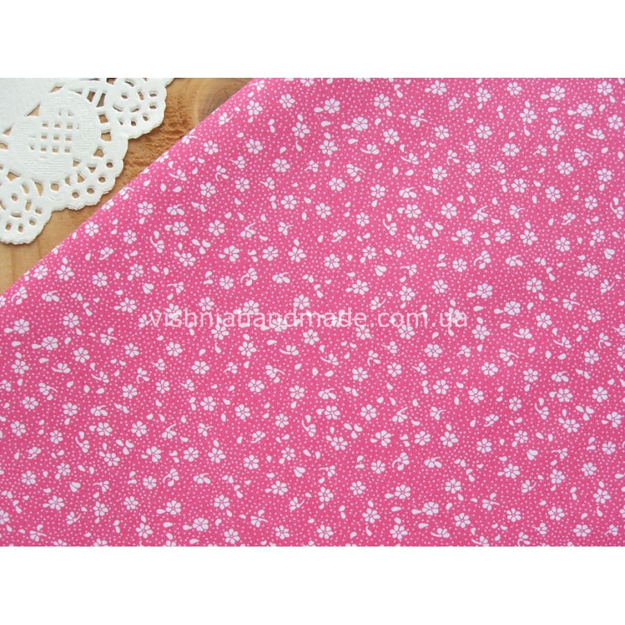 """Отрез польского хлопка для рукоделия """"Белые микро цветочки на ярко розовом"""", 50*40 см"""