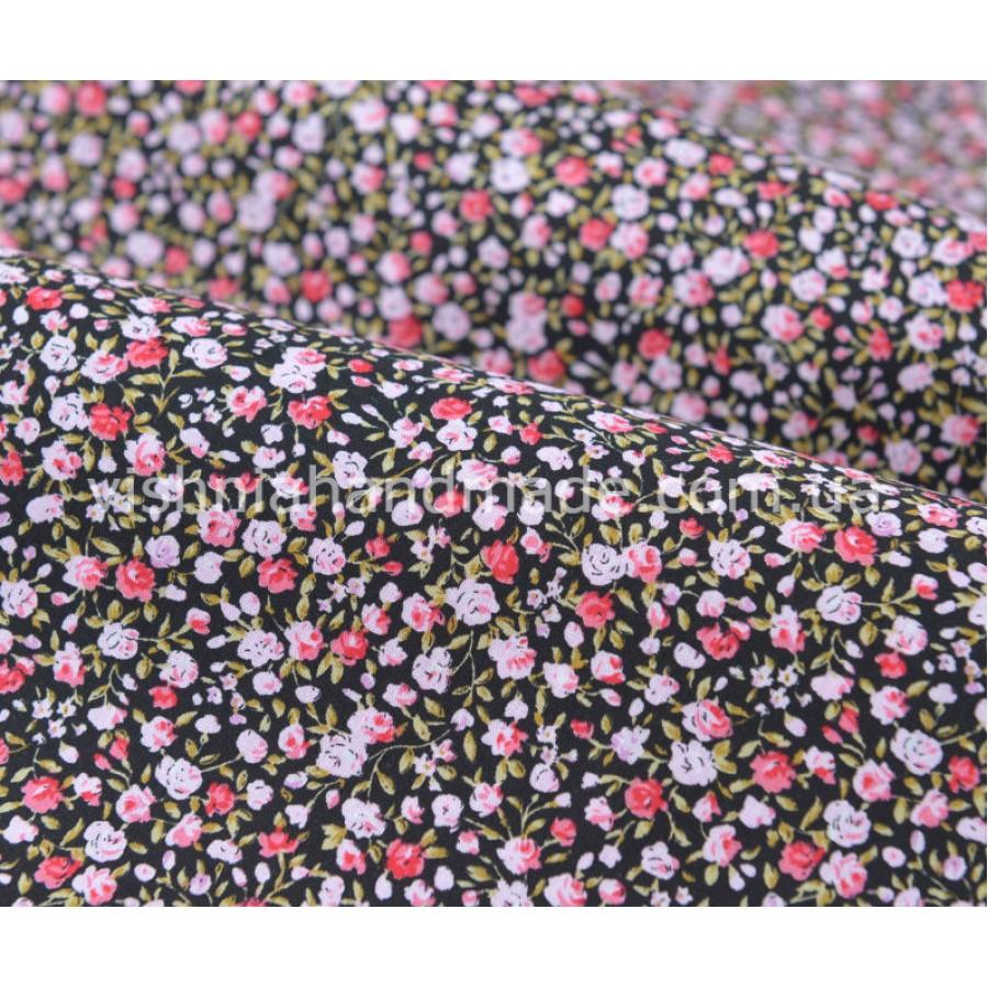 """Отрез поплина для кукольной одежды """"Розовые микро розочки на черном"""", 50*36 см"""