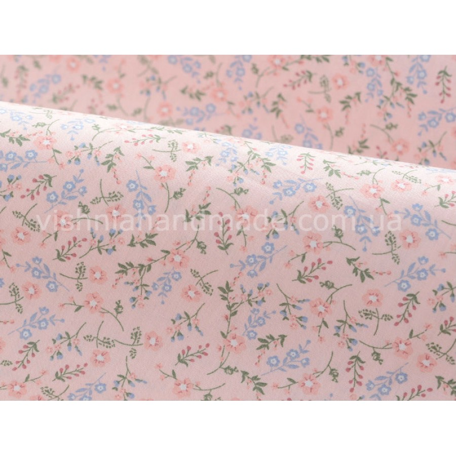 """Отрез поплина для кукольной одежды """"Веточка с цветочками на светло розовом"""", 50*36 см"""