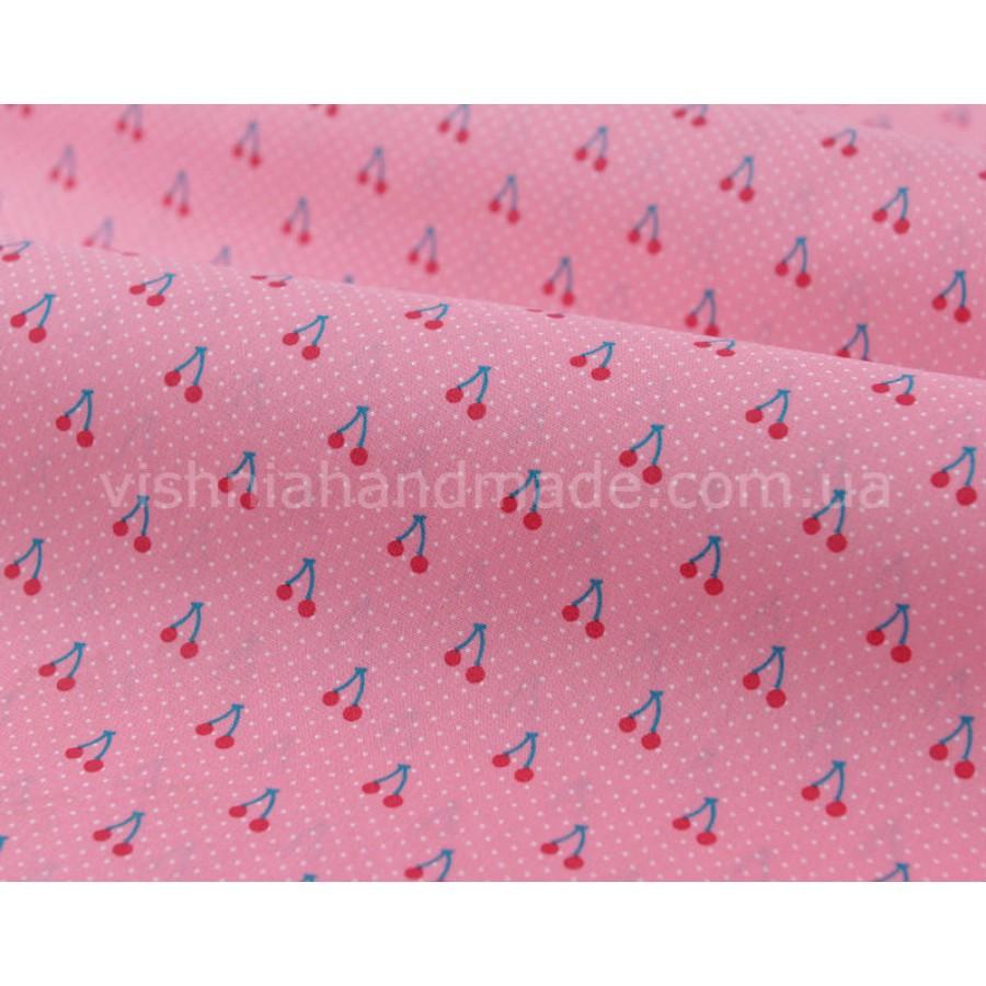 """Отрез поплина для кукольной одежды """"Вишенки на ярко розовом"""", 50*36 см"""