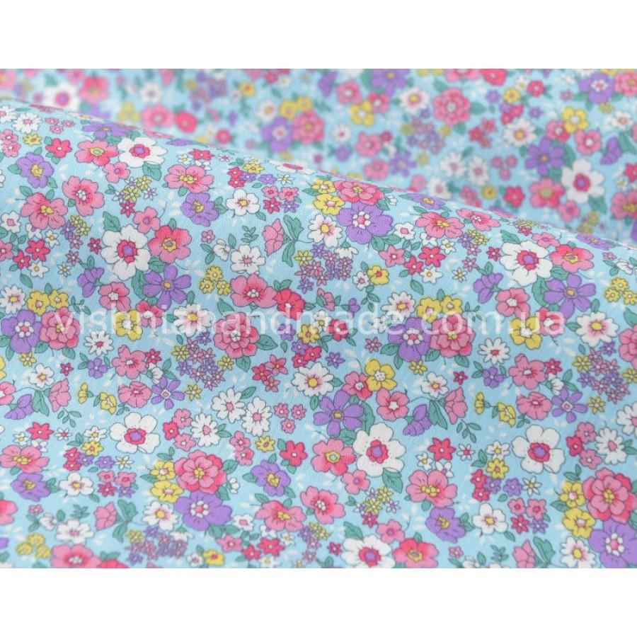 """Отрез поплина для кукольной одежды """"Яркие цветочки на голубом"""", 50*36 см"""