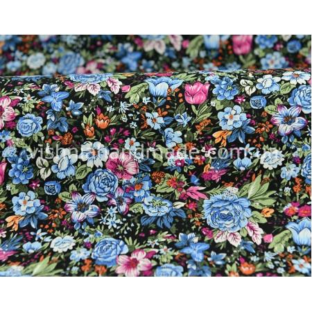 """Отрез поплина для кукольной одежды """"Густые голубые розы на черном"""", 50*36 см"""
