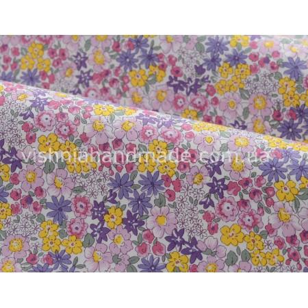 """Отрез поплина для кукольной одежды """"Желтые, фиолетовые, розовые цветы на белом"""", 50*36 см"""