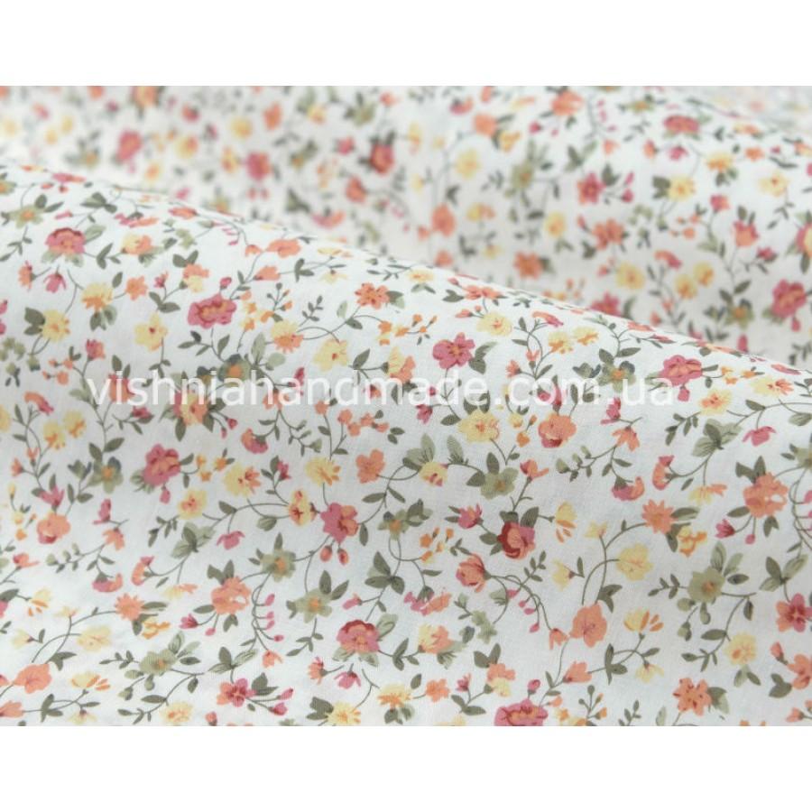 """Отрез поплина для кукольной одежды """"Веточки с оранжевыми, желтыми цветочками на белом"""", 50*36 см"""