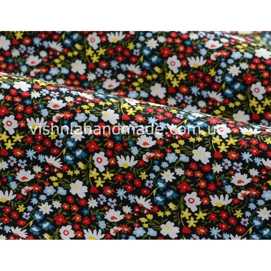 """Отрез поплина для кукольной одежды """"Густые разноцветные цветочки на черном"""", 50*36 см"""