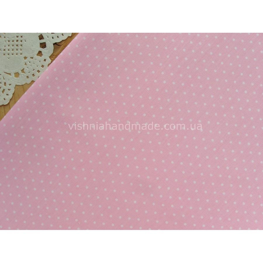 "Отрез сатина для рукоделия ""Белые точки 2 мм на розовом"", 25*40 см"