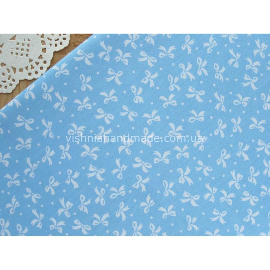 "Отрез сатина для рукоделия ""Белые бантики на голубом"", 25*40 см"