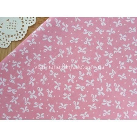 "Отрез сатина для рукоделия ""Белые бантики на розовом"",  50*40 см"