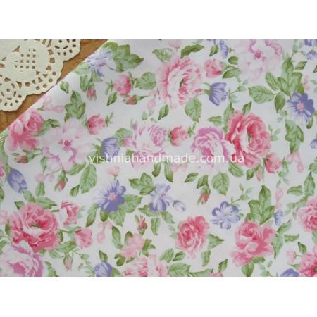 """Отрез сатина для рукоделия """"Розовые фиолетовые цветы на белом"""", 25*40 см"""