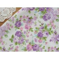 """Отрез сатина для рукоделия """"Средние фиолетовые цветы на молочном"""", 25*40 см"""