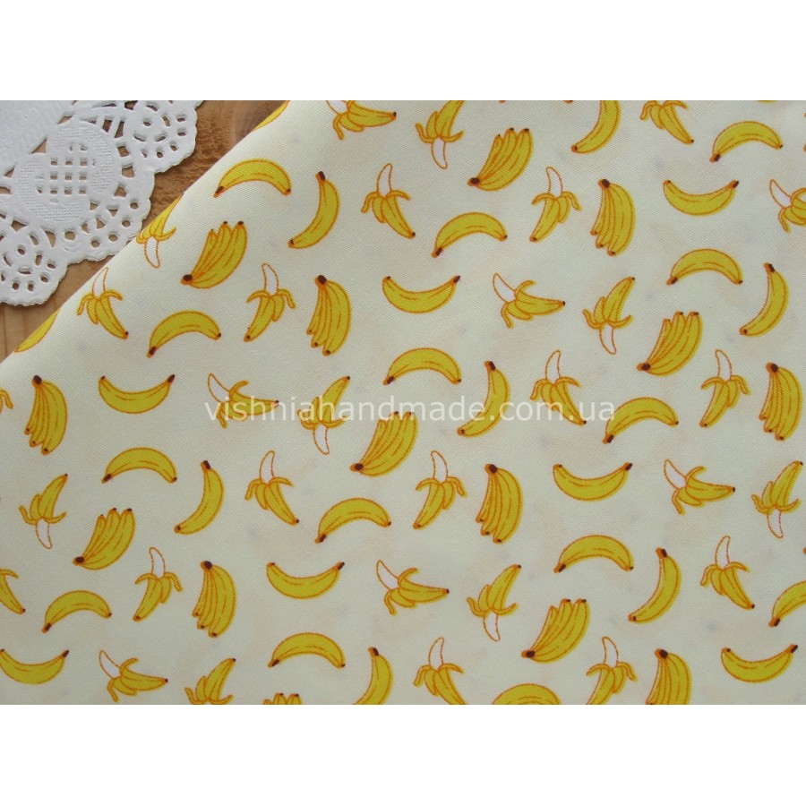 """Отрез сатина для рукоделия """"Бананы на кремовом"""", 25*40 см"""