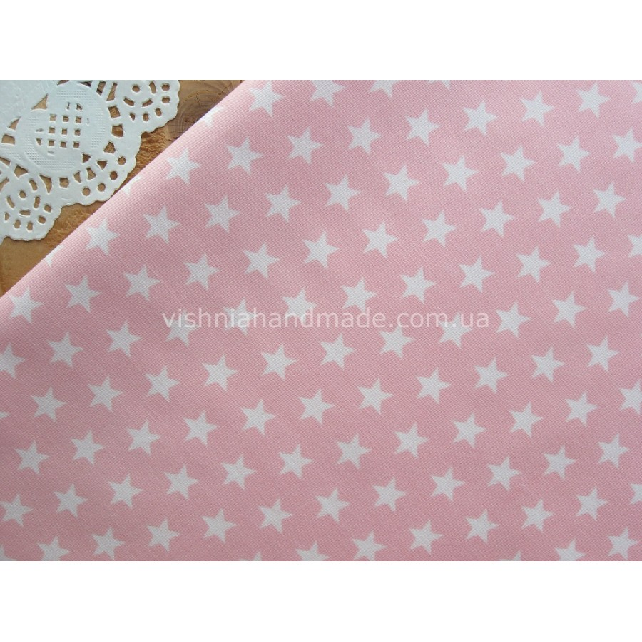 "Отрез сатина для рукоделия ""Белые звездочки 10 мм на розовом"", 25*40 см"