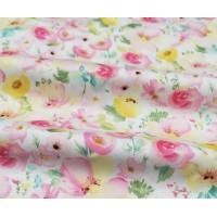 """Отрез сатина для рукоделия """"Большие розовые акварельные цветы на молочном"""", 50*40 см"""