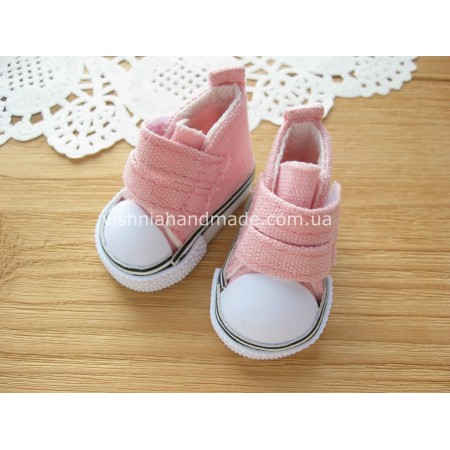 Розовые кеды для кукол на липучках, 5 см