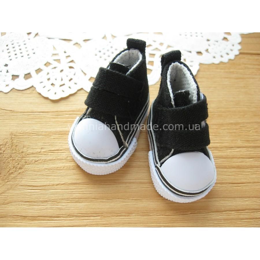 Черные кеды для кукол на липучках, 5 см