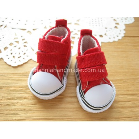 Красные кеды для кукол на липучках, 5 см