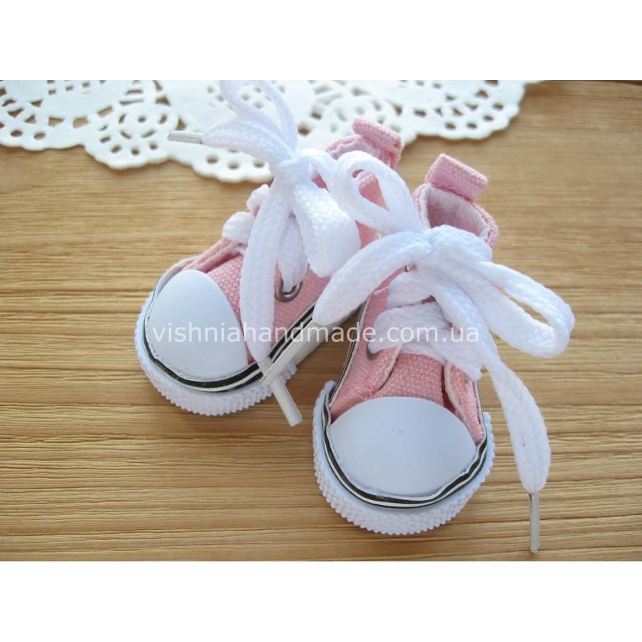 Розовые кеды для кукол со шнурками, 5 см