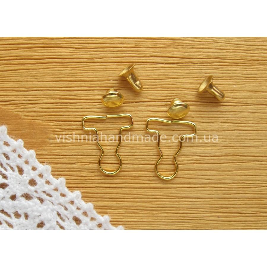 Застежка для кукольных комбинезонов, ЗОЛОТО, 10,5*9 мм, пара (2 шт)