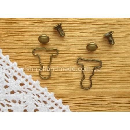 Застежка для кукольных комбинезонов, БРОНЗА, 10,5*9 мм, пара (2 шт)