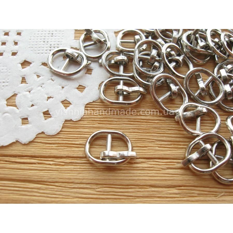 Серебряная овальная мини пряжка для кукольной одежды и обуви, 11*8 мм