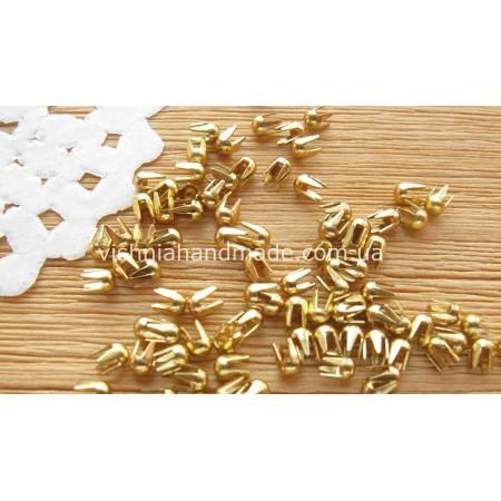 Золотые мини заклёпки/клёпки для кукольной одежды и обуви 10 шт, 2 мм