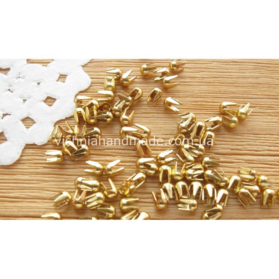 Золотые мини заклёпки/клёпки для кукольной одежды и обуви, 2 мм
