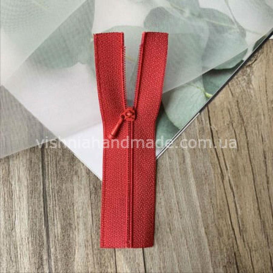 Красная не разъемная микро молния для кукольной одежды, 8 см