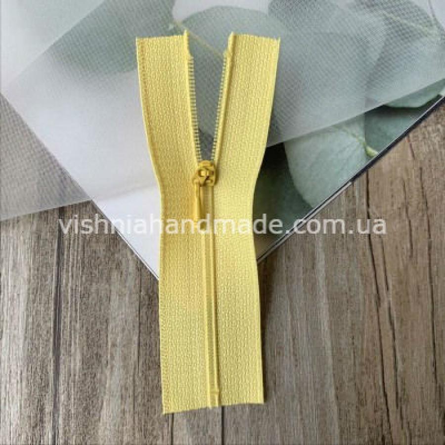Желтая не разъемная микро молния для кукольной одежды, 8 см