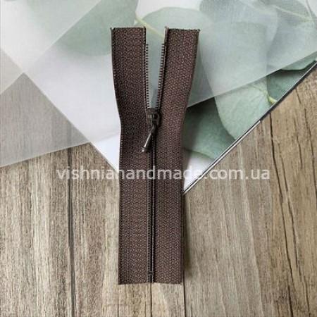 Темно коричневая не разъемная микро молния для кукольной одежды, 8 см