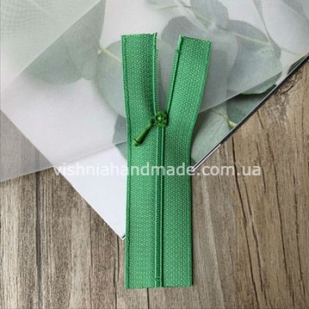Зеленая не разъемная микро молния для кукольной одежды, 8 см