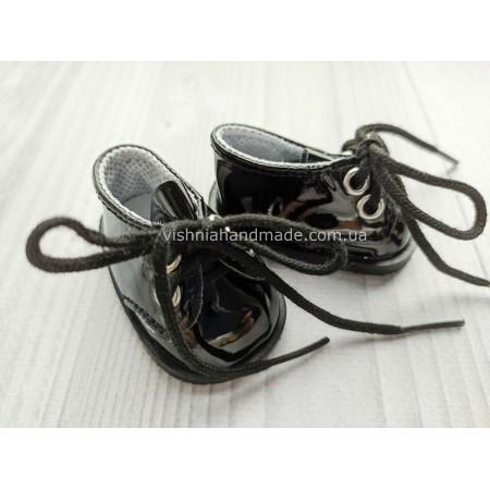 Обувь для кукол. Лаковые туфельки на шнурках ЧЕРНЫЕ 5.5*3 см