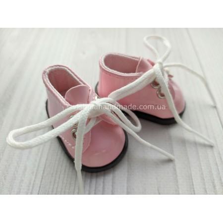 Обувь для кукол. Лаковые туфельки на шнурках РОЗОВЫЕ 5.5*3 см