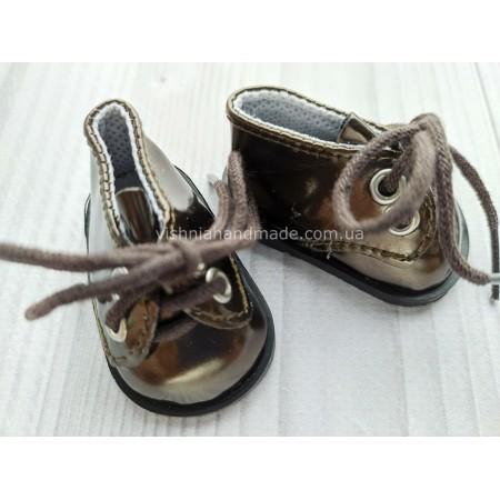 Обувь для кукол. Лаковые туфельки на шнурках КОРИЧНЕВЫЕ 5.5*3 см