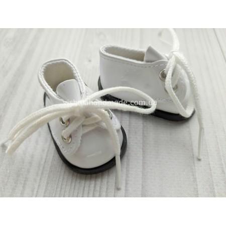 Обувь для кукол. Лаковые туфельки на шнурках БЕЛЫЕ 5.5*3 см
