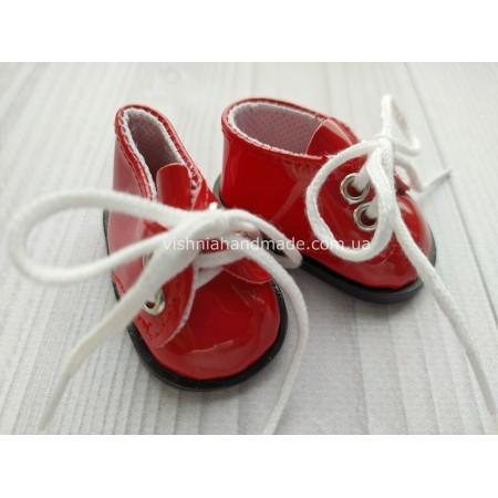 Обувь для кукол. Лаковые туфельки на шнурках КРАСНЫЕ 5.5*3 см