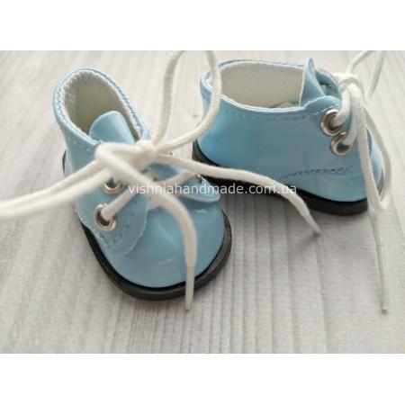 Обувь для кукол. Лаковые туфельки на шнурках ГОЛУБЫЕ 5.5*3 см